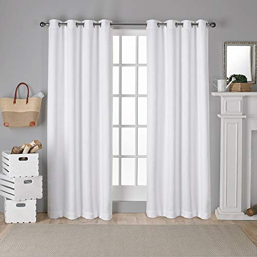 Exclusive Home Curtains Antique Shantung Twill Woven Brushed Window Curtain Panel Pair with Grommet Top, 52x108, Winter White, 2 Piece