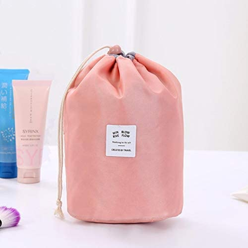トラべラブ圧縮バッグ 旅行大容量化粧品袋旅行セット洗浄屋外防水収納袋シリンダーウォッシュバッグ トラベルポーチ 出張 旅行 便利グッズ (Color : Pink, Size : Free size)