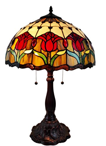 Amora Lighting AM115TL16 Tiffany Style Tulips Table Lamp 24 inches High ()