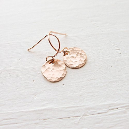 (Dainty Rose Gold Filled Hammered Dot Earrings)