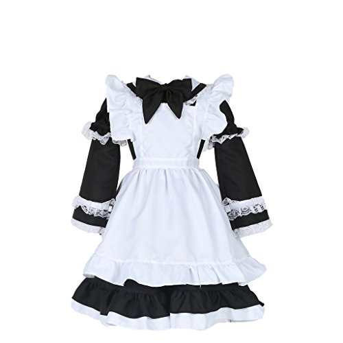 NewDong Girls Kids Maid Costume Halloween Fancy Dress With Apron Black Medium -