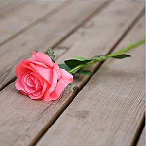 Artificial Silk Flowers Fake Rose Artificial Flower Long stem Silk Rose Bouquet Wedding Party Home Decoration(Pink) 61