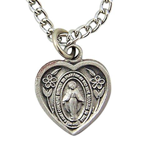 - Little Child of God Pewter Miraculous Medal Heart Shaped Pendant with Prayer Card, 16 Inch