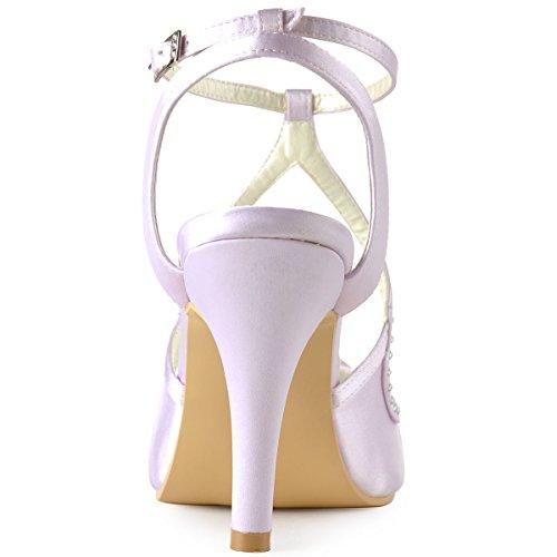 Elegantpark Ep11058 Vrouwen Hoge Hak Pumps Peep Toe Parels Bandjes Avond Prom Bruiloft Sandalen Lavendel
