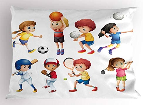 GO Team Sports Theme Tennis Basketball Soccer Pillowcases Set of 2 Green Blue