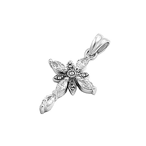 Sterling Silver Marquise Cz & Marcasite Cross ()