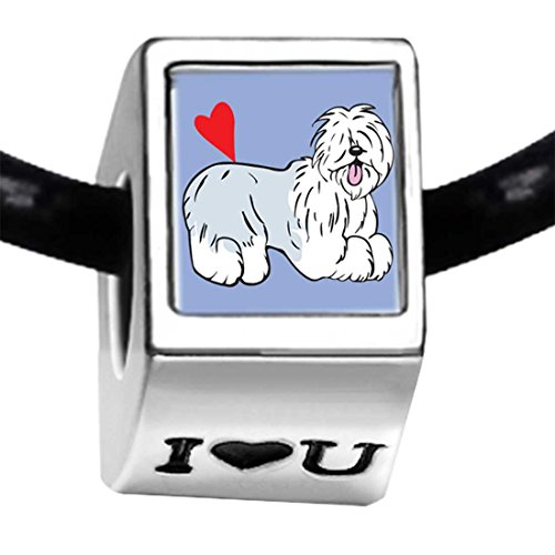 (GiftJewelryShop Silver Plated Old English Sheepdog Animal Photo I Love You Charm Beads Bracelets)