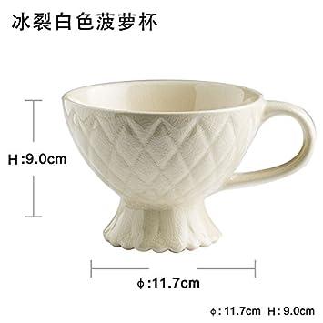 tlue tathtub Continental desayuno taza, avena, leche, taza grande, taza de cerámica de taza de café Creative Home Ice cracked white pineapple cup: ...
