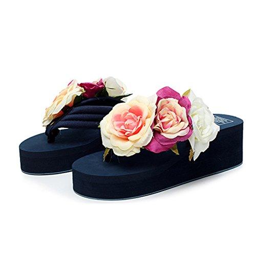 Damen Plattform Plateau Sandalen Flip Flops, Sommer Mädchen Rose Keilabsatz Pantoffeln Hausschuhe Eagsouni