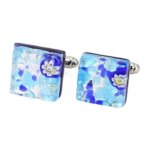 Glass Venetian Classic Square Cufflinks - Aqua Blue ()