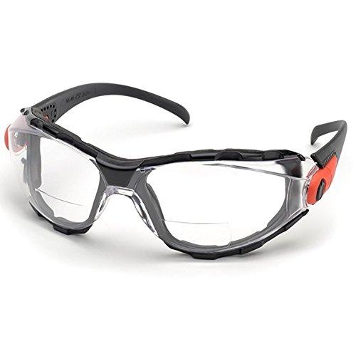 Spec Seal - Elvex Go-Specs Bifocal Safety Glasses Black Frame, Foam Seal Clear AF Lens