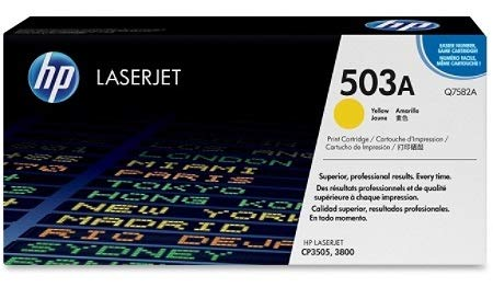 Yellow Laser Q7582a - Hewlett Packard Q7582AG OEM Toner - HP 503A Color LJ 3800 CP3505 Yellow Original LaserJet Toner Cartridge for US Government (6000 Yield) (105/Pallet) (TAA Compliant version of Q7582A)