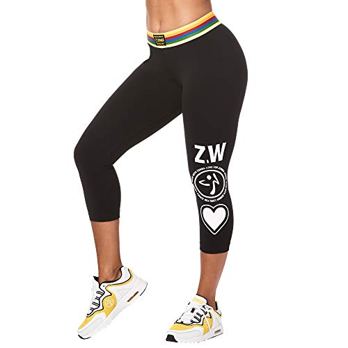 Zumba Fitness Active Jacquard Waistband Workout Print Capri Leggings for Women