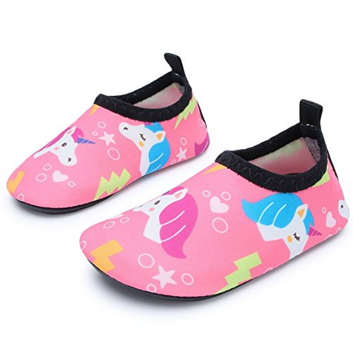 JIASUQI Fashion Outdoor Sports Water Aqua Skin Water Shoes Casual Beach Sandals for Baby,Pink/Unicorn 12-18 Months ()