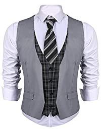 COOFANDY Men's Dress Suit Layered Vest V Neck Plaid Patchwork Wedding Waistcoat