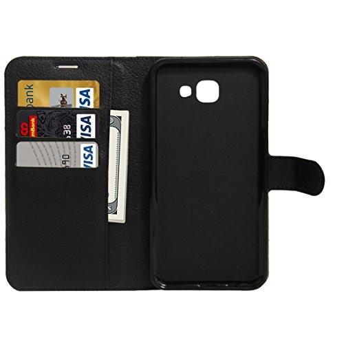 Para la galaxia A8 (2016) / A810 Lichí de la textura de Samsung flotan la caja de cuero de la PU del tirón con el sostenedor y las ranuras para tarjeta y la carpeta by diebelleu ( Color : White ) Black