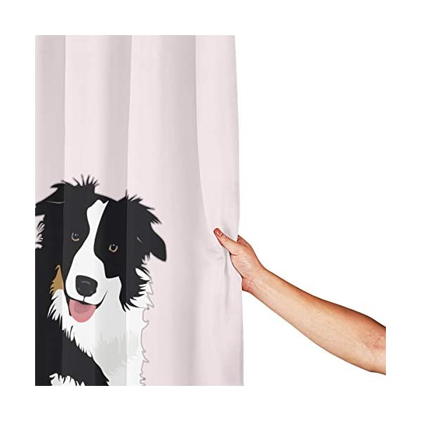 "Perfect Appearance Border Collie Shower Curtain 7-12 Grommet Holes Waterproof Thick Bathroom Plastic Shower Curtains 55.1"""" W X 71.1"""" H No Chemical Odor Rust Proof Grommets 3"