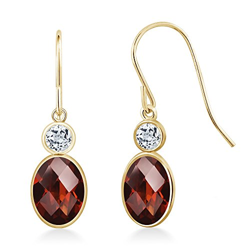 Gem Stone King 1.88 Ct Oval Checkerboard Red Garnet White Topaz 14K Yellow Gold Earrings