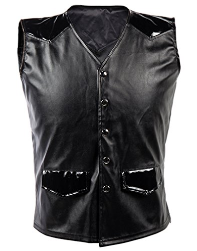Killreal Men's Steampunk Gothic Faux Leather Sleeveless Jacket Vest With PVC Patchwork Black (Authentic Black Leather Vest)