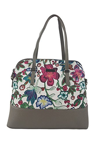 Floral PU Leather Handbags for Women with Zipper , Pockets and Shoulder Strap(White)