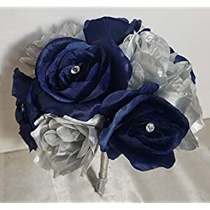 Navy Blue Silver Rose Bridal Wedding Bouquet & Boutonniere 104