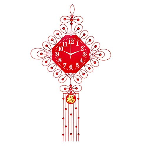 Wall Clock FJH Chinese Knot Wedding Red Festive Creative Living Room Modern Simple Mute Big Wooden Dial 20 Inches