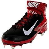 Nike Men's Huarache Pro Mid Metal Black/White/Varsity Red Baseball Cleat Men