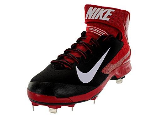 Nike Men's Huarache Pro Mid Metal Black/White/Varsity Red Baseball Cleat 10 Men US
