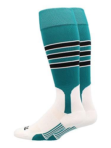 MadSportsStuff Baseball Stirrup Socks 3 Stripe (Teal/Black/White, X-Large) ()