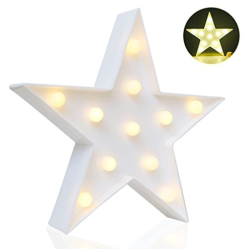 Designer Star Marquee Sign Lights, Novelty Place Warm White LED Lamp - Living Room, Bedroom Table & Wall Christmas Decoration for Kids & Adults - Battery Powered 10 Inches High (White Bedroom Lamps)
