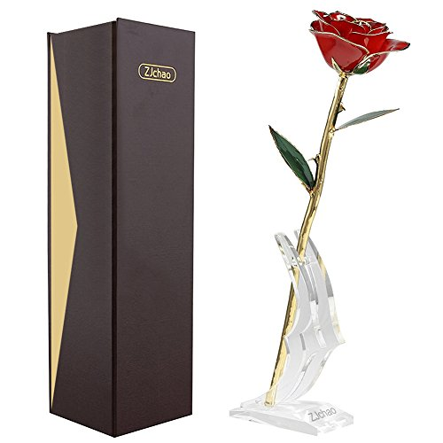ZJchao Real Red Rose Long Stem Dipped 24K Gold for Women Handmade Flower with Gift Box,Valentine Day,Mother