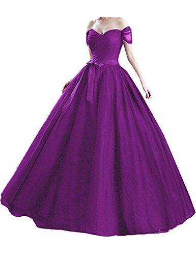 Purple A Con Maniche Palloncino Stillluxury Donna Corte Vestito Orlo f7qHxxSw8