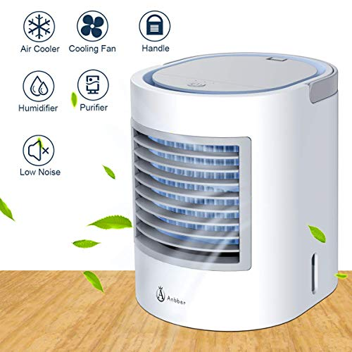 Anbber Portable Air Conditioner, Portable Cooler, Quick & Easy Way to Cool Personal Space, Suitable for Bedside, Office and Study Room. Three Wind Level Adjustment, USB Drive