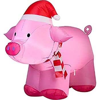 ghi Christmas Inflatable 3.5L Pig with Santa Hat Airblown Decoration - Amazon.com: Trim A Home Airblown Pig Lawn Decoration 4' Christmas