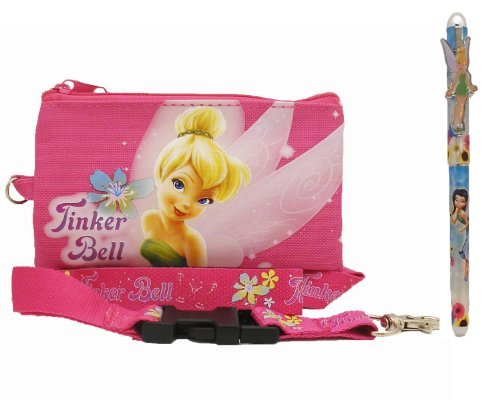 Disney Tinkerbell Lanyard with Coin Wallet Pink and 1 Pen
