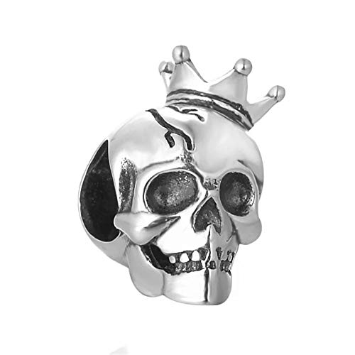 ABAOLA Antique 925 Sterling Silver Skull Beads Eye Bead fit Halloween Pandora Charms Bracelet & Necklace (Crown Skull)