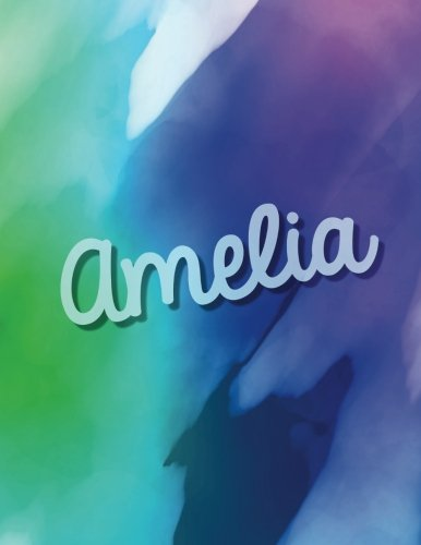 Read Online Amelia: Amelia personalized sketchbook/ journal. Large 8.5 x 11 Amelia name  blank book cover. Attractive bright purple tones watercolor paint splash ... book for writing drawing and dreaming in. pdf epub