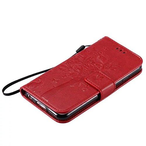 EKINHUI Case Cover Solid Color Premium PU-Leder-Etui Prägung Muster Flip-Standplatz Fall Deckung mit Karte und Bargeld Schlitze für iPhone 6 6s 4,7 Zoll ( Color : Red )