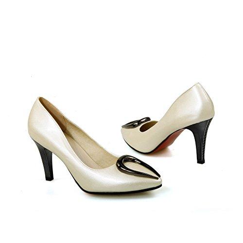 AllhqFashion Damen Blend-Materialien Rein Ziehen auf Spitz Zehe Stiletto Pumps Schuhe Cremefarben