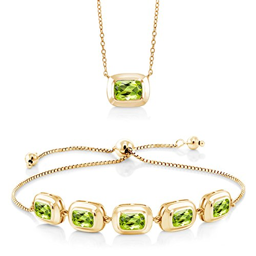 5.95 Ct Green Peridot 18K Yellow Gold Plated Silver Pendant and Bracelet Set