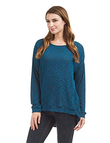 WT1461 Womens Long Sleeve High Low Loose Knit Sweater Top M Teal_Black by Lock and Love (Image #5)