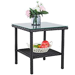 patio side table outdoor metal tables garden small tables black wicker rattan side. Black Bedroom Furniture Sets. Home Design Ideas