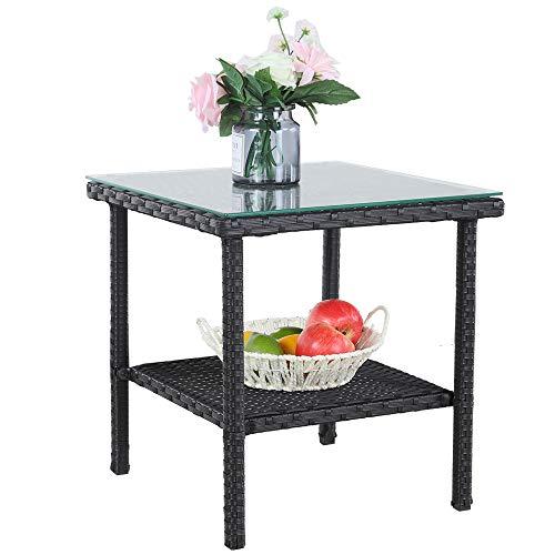 door Metal Tables Garden Small Tables Black Wicker Rattan Side Table Patio Furniture Garden Deck Pool Glass Top Tea Table-Black ()