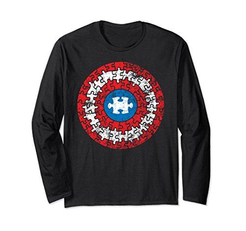 - Autism Awareness Puzzle Superhero Shield Long Sleeve Shirt