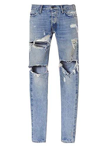 Denim Stretch Blau Pantaloni Slim Strappati Ragazzo Uomo Jeans Fit Da PqwUnxvdwS