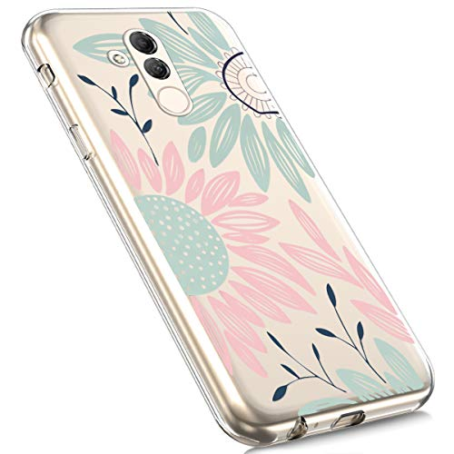 Price comparison product image Huawei Mate 20 Lite Case, MoreChioce Fashion Creative Painted Pattern Design Slim Transparent Silicon Protective Cover Compatible with Huawei Mate 20 Lite + 1x Blue Stylus Pen - Green Sunflower