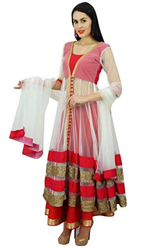 Atassi Des Femmes De Costume Longueur De Plancher Anarkali De Salwaar Avec Des Vêtements Dupatta Personnalisé Blanc Et Rouge