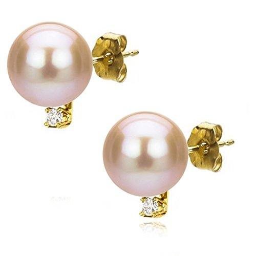 Freshwater Cultured Pink Pearl Earrings 14K Yellow Gold Studs Diamond Jewelry 1 50 CTTW