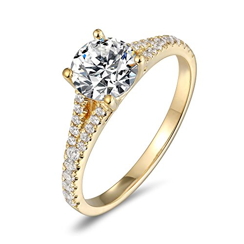 Lamrowfay 14K Gold 1ct 6.5mm Round Brilliant Cut Simulated Diamond Cubic Zirconia CZ Solitaire Engagement Ring of Wedding Ring Set for Women and Girls (yellow-gold, 9.5) ()