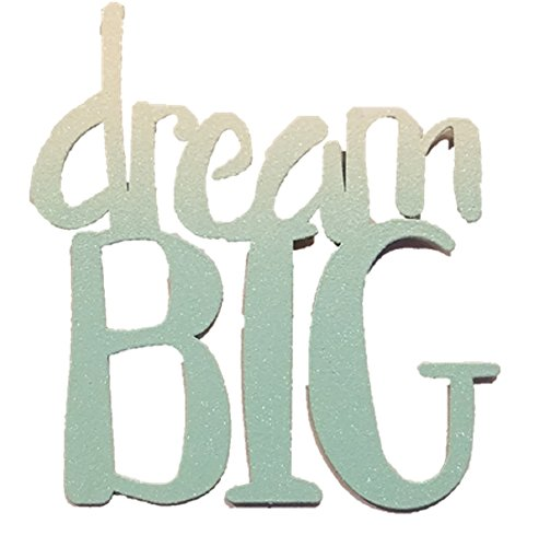 Roeda Brighten Your Life 13704B Dream Big Glitter Word in Light Blue Magnet Made in USA